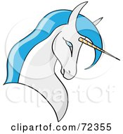 Royalty Free RF Clipart Illustration Of A White Unicorn With White Hair And A Golden Horn by cidepix