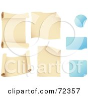 Royalty Free RF Clipart Illustration Of A Digital Collage Of Blank Parchment Scrolls And Blue Peeling Stickers