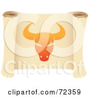Royalty Free RF Clipart Illustration Of An Orange Taurus Icon On A Parchment Scroll