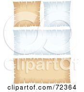 Royalty Free RF Clipart Illustration Of A Digital Collage Of Blank White And Beige Parchment Signs With Torn Edges by cidepix