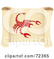 Royalty Free RF Clipart Illustration Of A Red Scorpio Icon On A Parchment Scroll by cidepix