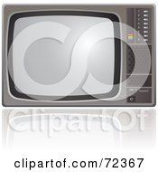 Royalty Free RF Clipart Illustration Of An Old Fashioned Silver TV Set With A Reflection by cidepix