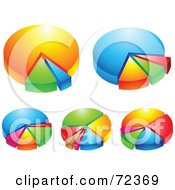 Royalty Free RF Clipart Illustration Of A Digital Collage Of Shiny 3d Pie Charts