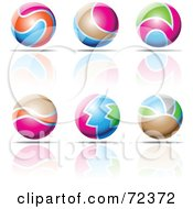 Royalty Free RF Clipart Illustration Of A Digital Collage Of Colorful 3d Spheres With Reflections by cidepix