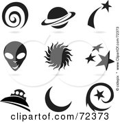 Royalty Free RF Clipart Illustration Of A Digital Collage Of Black And White Universe Icons