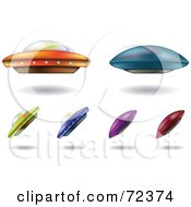 Royalty Free RF Clipart Illustration Of A Digital Collage Of Colorful UFOs