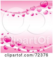 Pink Background With Waves Of Shiny Hearts