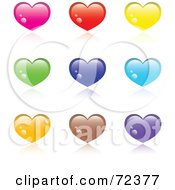 Royalty Free RF Clipart Illustration Of A Digital Collage Of Shiny Colorful Hearts With Reflections