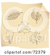 Royalty Free RF Clipart Illustration Of A Digital Collage Of Brown Sketched Ecology Icons On Parchment by cidepix