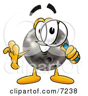 Clipart Picture Of A Bowling Ball Mascot Cartoon Character Looking Through A Magnifying Glass