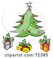 Royalty Free RF Clipart Illustration Of Three Gift Boxes Under A Decorated Christmas Tree by cidepix