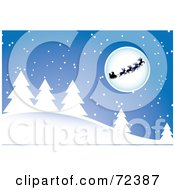 Santa And His Reindeer Silhouetted In Front Of A Moon Over A Snow Covered Forest