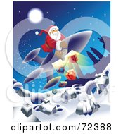 Royalty Free RF Clipart Illustration Of Santa Dropping Presents From A Rocket Down To A Village by cidepix