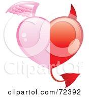 Royalty Free RF Clipart Illustration Of A Half Angel Half Devil Heart by cidepix #COLLC72392-0145
