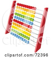 Royalty Free RF Clipart Illustration Of A Red Abacus With Colorful Beads Version 2