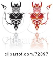 Royalty Free RF Clipart Illustration Of A Digital Collage Of Black And Red Devil Designs With Reflections