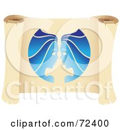 Royalty Free RF Clipart Illustration Of A Blue Gemini Icon On A Parchment Scroll