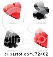 Royalty Free RF Clipart Illustration Of A Digital Collage Of Red And Black 3d Card Suits by cidepix