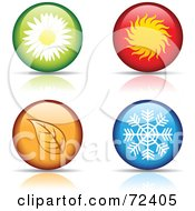 Royalty Free RF Clipart Illustration Of A Digital Collage Of Four Round Season Website Buttons by cidepix
