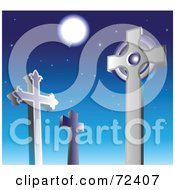 Royalty Free RF Clipart Illustration Of Cross Tombstones In A Cemetery Against A Night Sky
