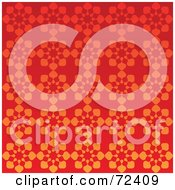 Bright Red Background With Orange Snowflake Patterns