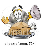 Clipart Picture Of A Bowling Ball Mascot Cartoon Character Serving A Thanksgiving Turkey On A Platter