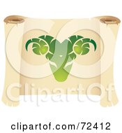 Royalty Free RF Clipart Illustration Of A Green Aries Icon On A Parchment Scroll