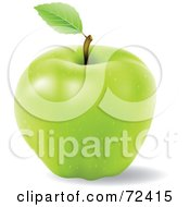 Royalty Free RF Clipart Illustration Of A Realistic 3d Green Apple With A Single Leaf On The Stem