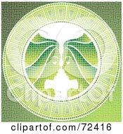 Green Gemini Twins Horoscope Mosaic Tile Background