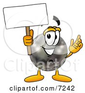 Clipart Picture Of A Bowling Ball Mascot Cartoon Character Holding A Blank Sign