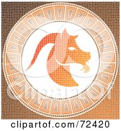 Royalty Free RF Clipart Illustration Of An Orange Capricorn Horoscope Mosaic Tile Background