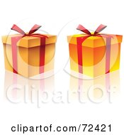 Two Orange Gift Boxes With Red Ribbons And Bows