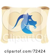 Royalty Free RF Clipart Illustration Of A Blue Capricorn Icon On A Parchment Scroll