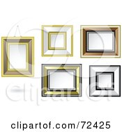 Royalty Free RF Clipart Illustration Of A Digital Collage Of A Group Of Gold White And Brown Blank Frames On A Wall by cidepix