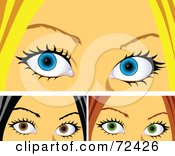 Digital Collage Of Three Womens Tearing Eyes