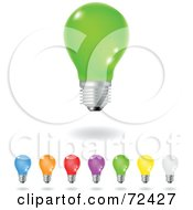 Royalty Free RF Clipart Illustration Of A Digital Collage Of Shiny Colorful Electric Light Bulbs by cidepix