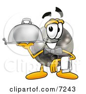 Bowling Ball Mascot Cartoon Character Dressed As A Waiter And Holding A Serving Platter