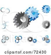Royalty Free RF Clipart Illustration Of A Digital Collage Of Gray And Blue Gear Cog Icons