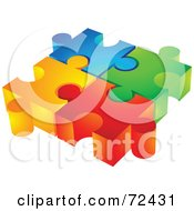 Royalty Free RF Clipart Illustration Of A Group Of Colorful Diverse 3d Puzzle Pieces Inter Locked by cidepix