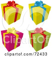 Digital Collage Of Yellow Pink And Green Gift Boxes With Ribbons And Bows