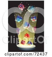 Royalty Free RF Clipart Illustration Of An Explosion Of Bright Light And Colorful Gift Boxes On Black by cidepix