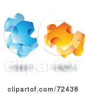 Royalty Free RF Clipart Illustration Of A Blue And Orange Jigsaw 3d Puzzle Pieces by cidepix