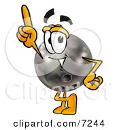 Clipart Picture Of A Bowling Ball Mascot Cartoon Character Pointing Upwards