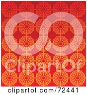 Bright Red Background With Orange Floral Patterns