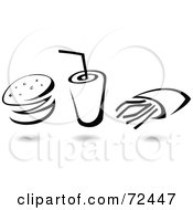 Royalty Free RF Clipart Illustration Of A Digital Collage Of A Black And White Hamburger With A Fountain Soda And French Fries by cidepix