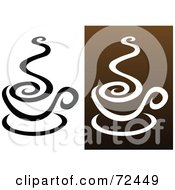 Royalty Free RF Clipart Illustration Of A Digital Collage Of Coffee Cups With Swirling Steam by cidepix
