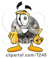 Clipart Picture Of A Bowling Ball Mascot Cartoon Character Pointing At The Viewer