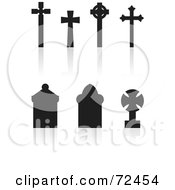 Digital Collage Of Silhouetted Cross And Standard Tombstones