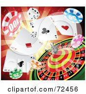 Royalty Free RF Clipart Illustration Of Dice Poker Chips And A Roulette Wheel Over A Red Burst