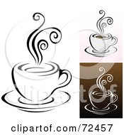 Royalty Free RF Clipart Illustration Of A Digital Collage Of Coffee Cups With Swirly Steam by cidepix